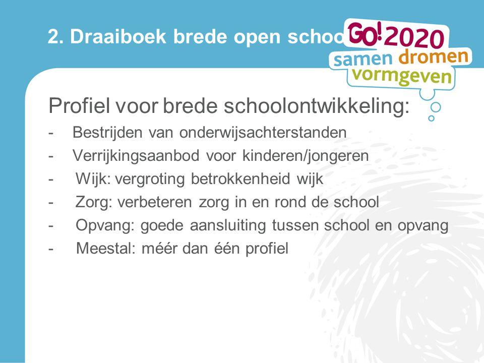 2. Draaiboek brede open school Profiel voor brede schoolontwikkeling: -Bestrijden van onderwijsachterstanden -Verrijkingsaanbod voor kinderen/jongeren
