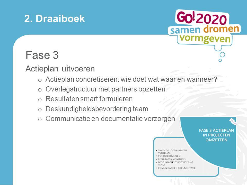 2.Draaiboek Fase 3 Actieplan uitvoeren o Actieplan concretiseren: wie doet wat waar en wanneer.