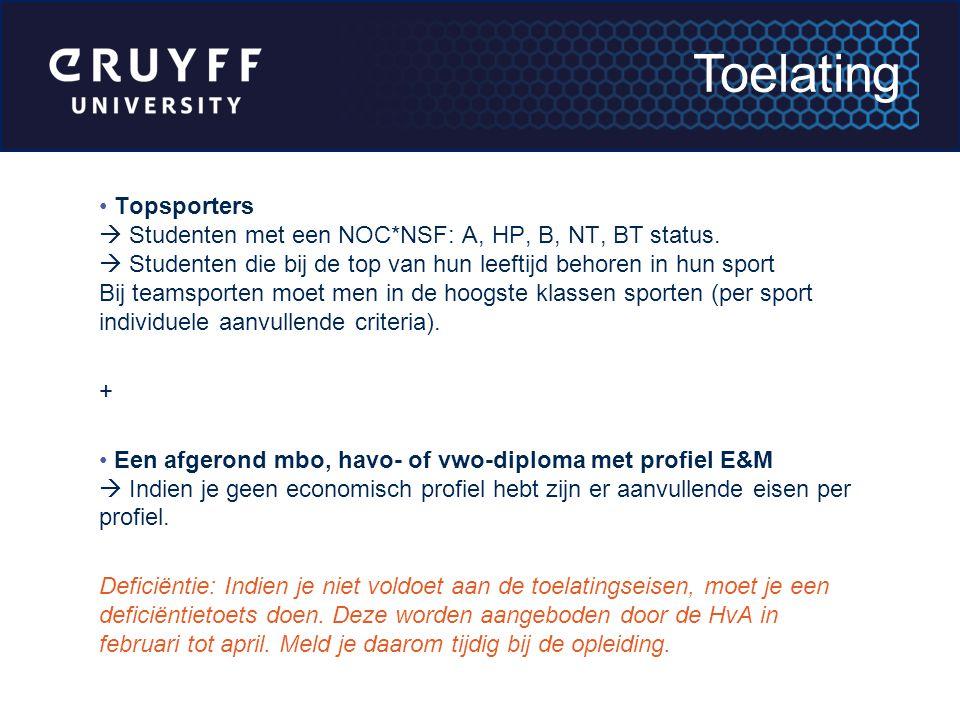 Topsporters  Studenten met een NOC*NSF: A, HP, B, NT, BT status.