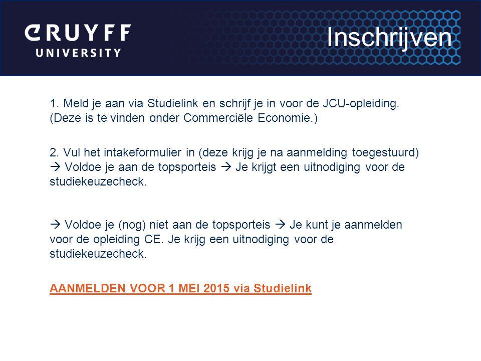 1. Meld je aan via Studielink en schrijf je in voor de JCU-opleiding. (Deze is te vinden onder Commerciële Economie.) 2. Vul het intakeformulier in (d