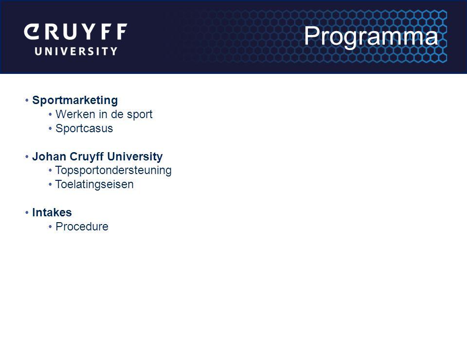 Sportmarketing Werken in de sport Sportcasus Johan Cruyff University Topsportondersteuning Toelatingseisen Intakes Procedure Programma