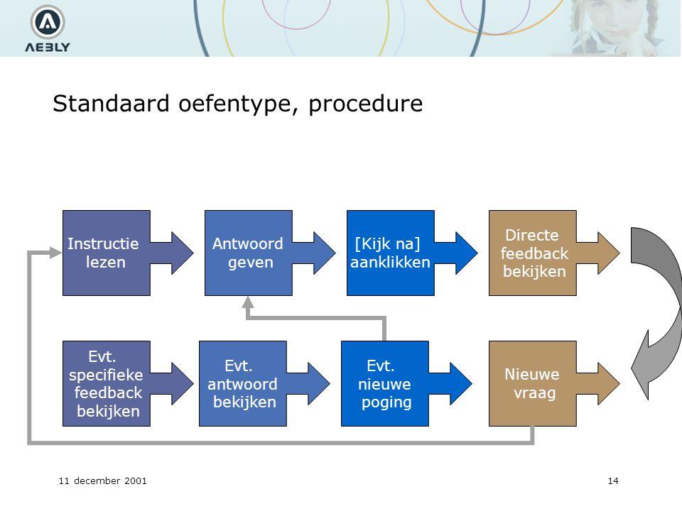 11 december 200114 Standaard oefentype, procedure Instructie lezen Antwoord geven [Kijk na] aanklikken Directe feedback bekijken Evt.
