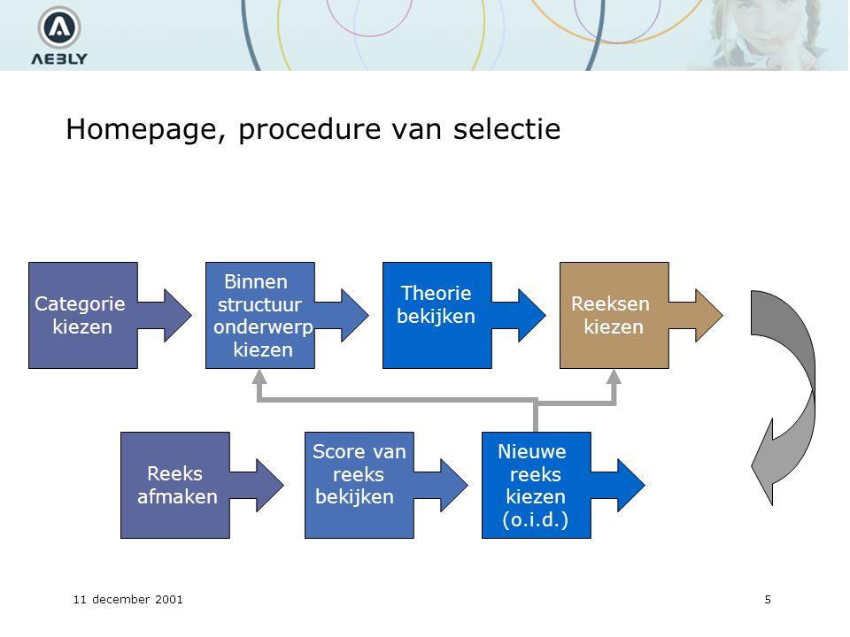 11 december 20015 Homepage, procedure van selectie Categorie kiezen Binnen structuur onderwerp kiezen Theorie bekijken Reeksen kiezen Reeks afmaken Nieuwe reeks kiezen (o.i.d.) Score van reeks bekijken