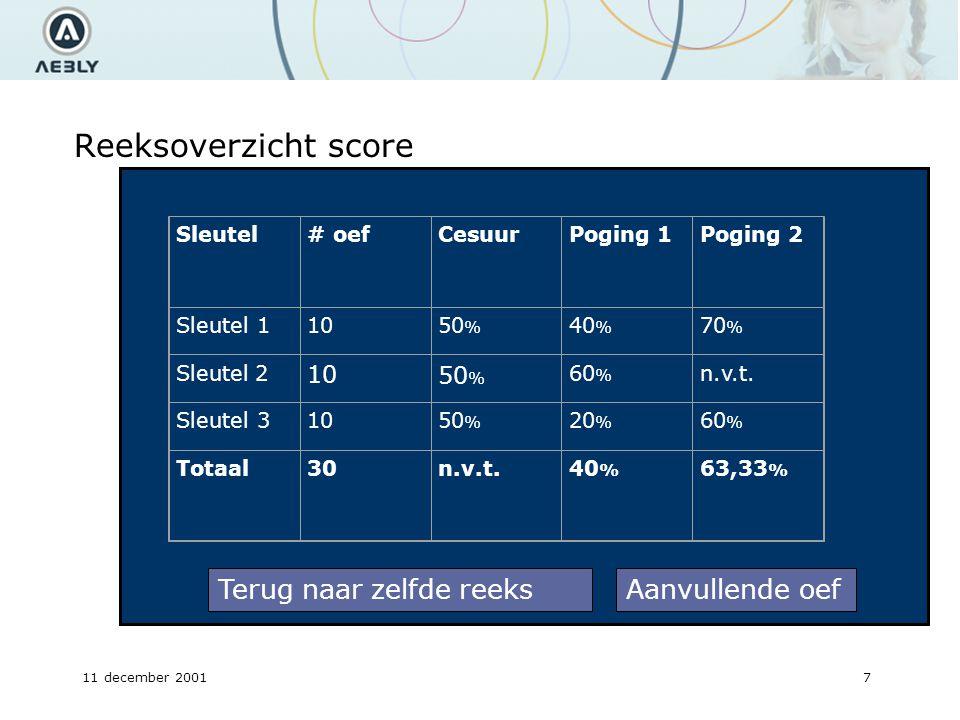 11 december 20017 Reeksoverzicht score Sleutel# oefCesuurPoging 1 Poging 2 Sleutel 11050 % 40 % 70 % Sleutel 2 1050 % 60 % n.v.t.