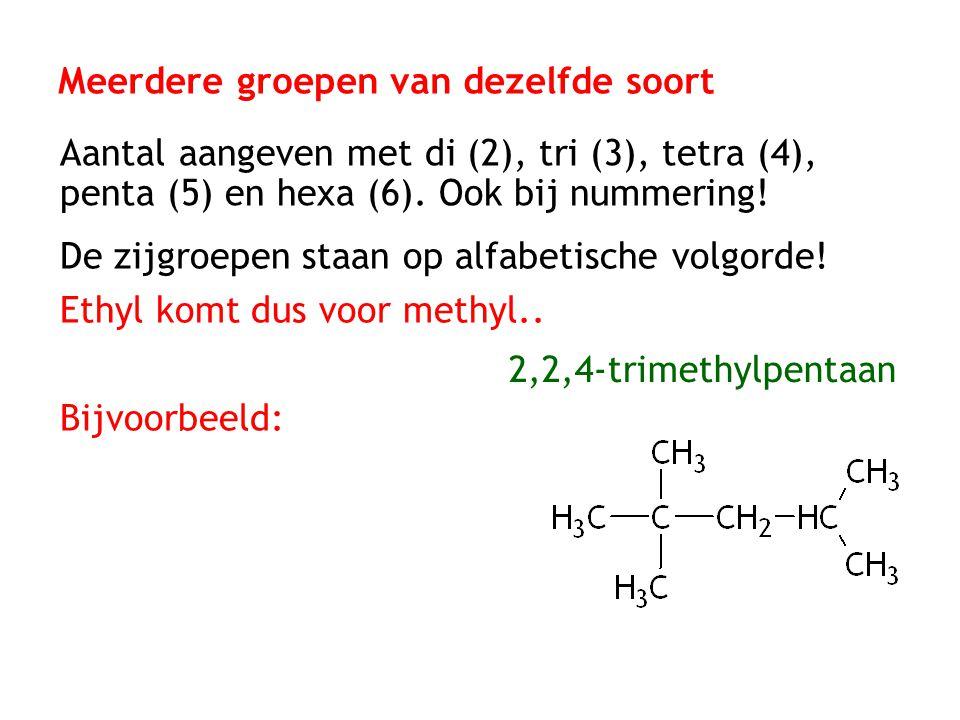 Meerdere groepen van dezelfde soort Aantal aangeven met di (2), tri (3), tetra (4), penta (5) en hexa (6). Ook bij nummering! De zijgroepen staan op a