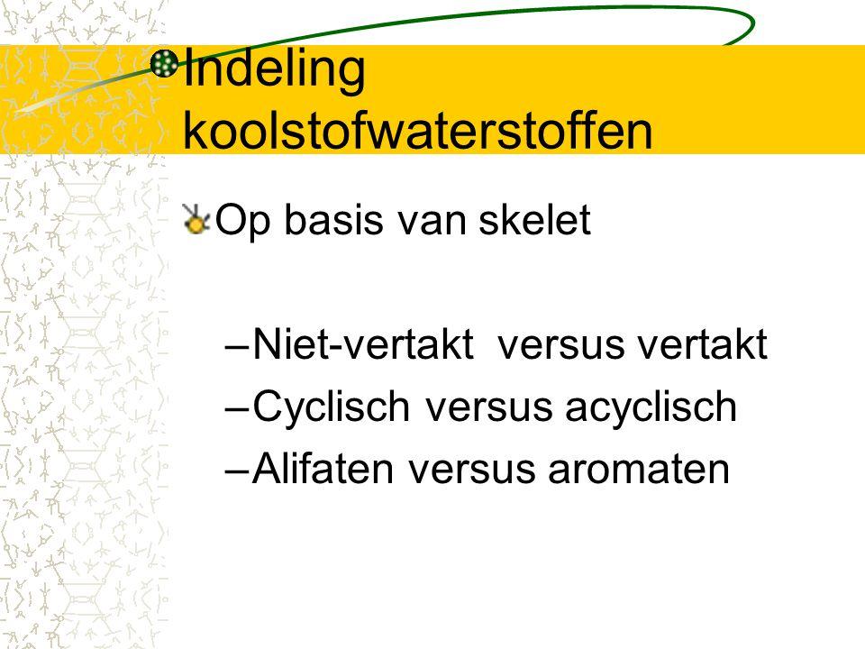Indeling koolstofwaterstoffen Op basis van skelet –Niet-vertakt versus vertakt –Cyclisch versus acyclisch –Alifaten versus aromaten
