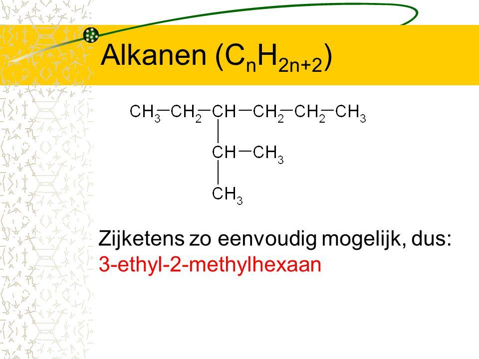 Alkanen (C n H 2n+2 ) Zijketens zo eenvoudig mogelijk, dus: 3-ethyl-2-methylhexaan