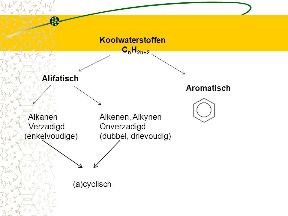 Koolwaterstoffen C n H 2n+2 Alifatisch Aromatisch AlkanenAlkenen, Alkynen VerzadigdOnverzadigd (enkelvoudige)(dubbel, drievoudig) (a)cyclisch