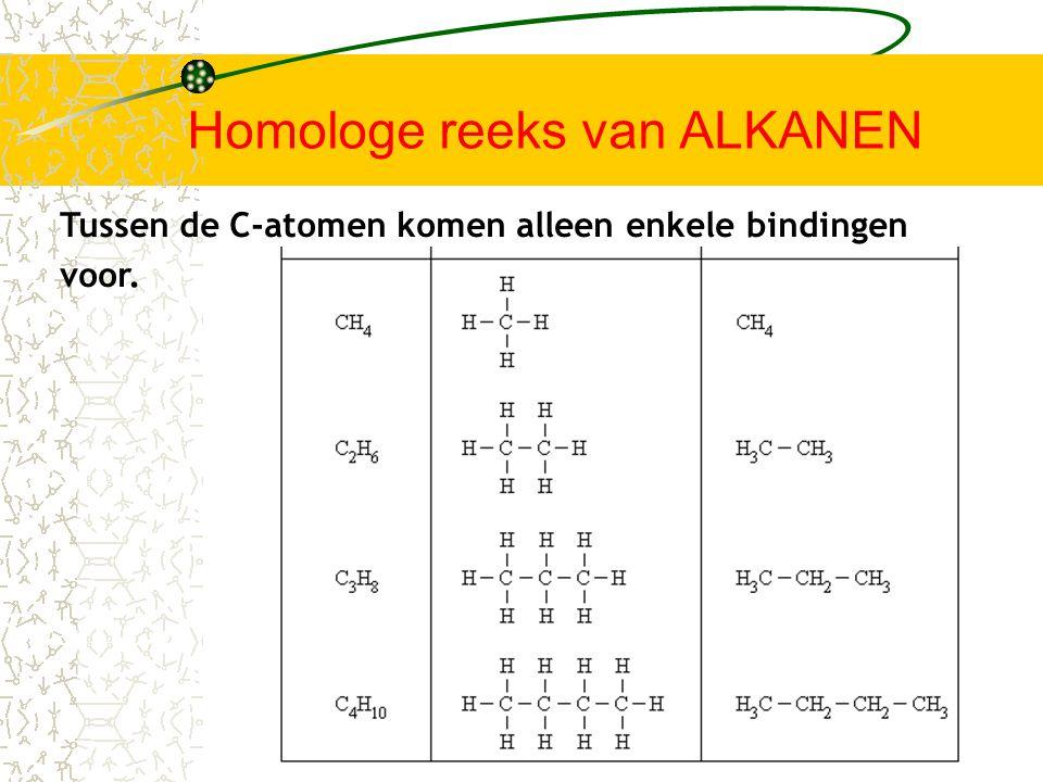 Niet vertakte alkanen C n H 2n+2 homologe reeks Methaan CH 4 EthaanC 2 H 6 PropaanC 3 H 8 ButaanC 4 H 10 PentaanC 5 H 12 HexaanC 6 H 14 HeptaanC 7 H 16 OctaanC 8 H 18