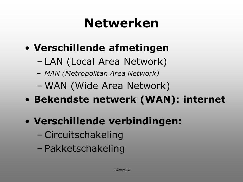 Informatica Circuitschakeling Verbindingsgerichte communicatie: –Verbinding tussen 2 punten wordt opgezet en alles wordt verstuurd –Als alles klaar is, verbinding verbreken en lijn vrijgeven Voorbeeld: Telefoon Voordelen: –Betrouwbaar –Beschikbare bandbreedte staat vast Nadelen: –Houdt lijn bezet –Lijn ook bezet als niets gezonden wordt –Inflexibel: lijn kapot -> verbinding weg