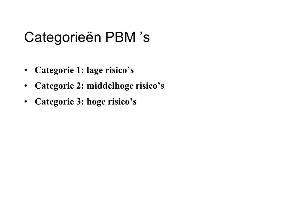 Categorieën PBM 's Categorie 1: lage risico's Categorie 2: middelhoge risico's Categorie 3: hoge risico's