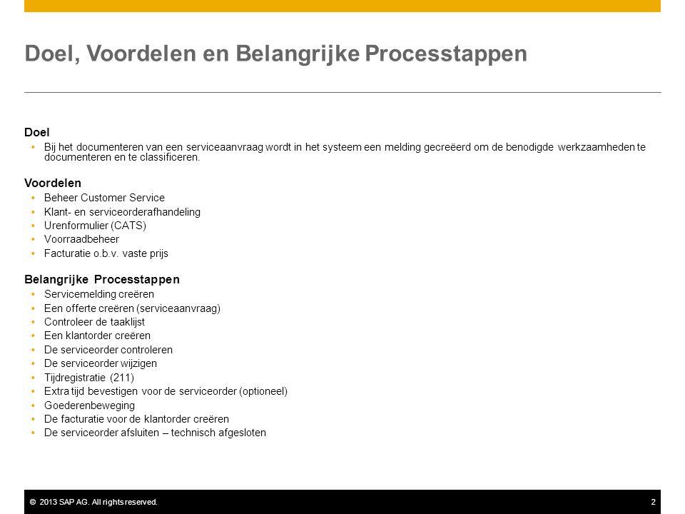 ©2013 SAP AG. All rights reserved.2 Doel, Voordelen en Belangrijke Processtappen Doel  Bij het documenteren van een serviceaanvraag wordt in het syst