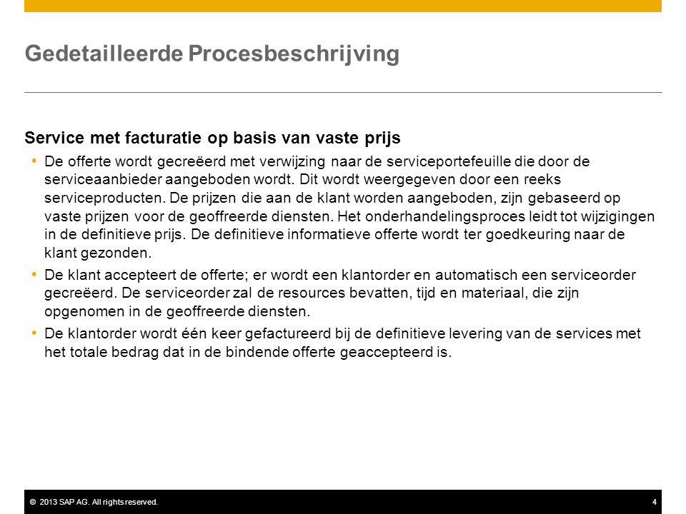 ©2013 SAP AG. All rights reserved.4 Gedetailleerde Procesbeschrijving Service met facturatie op basis van vaste prijs  De offerte wordt gecreëerd met
