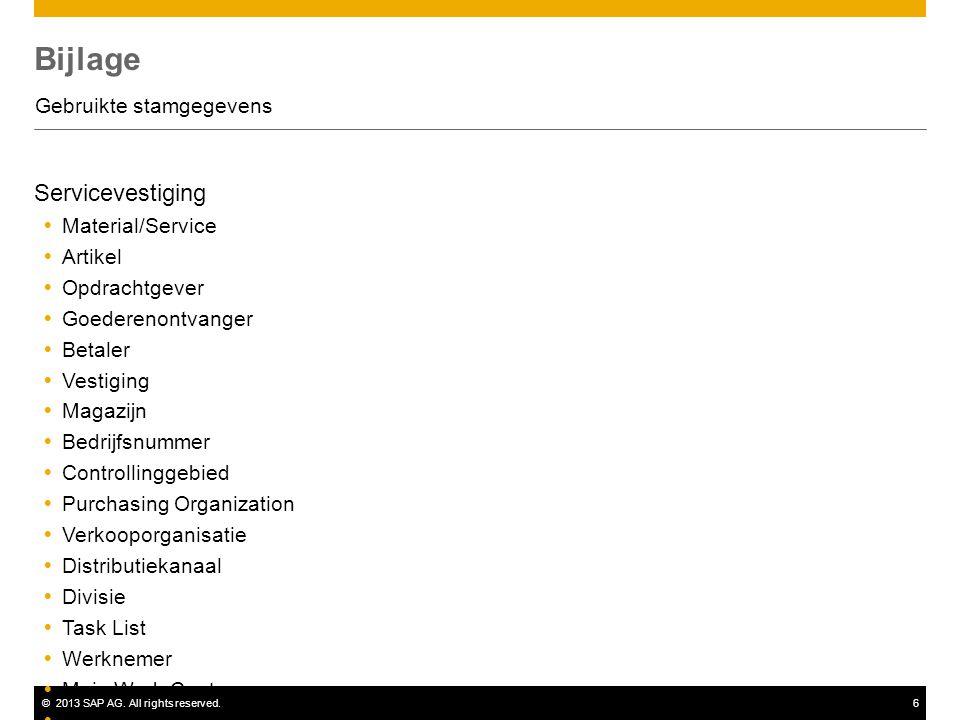 ©2013 SAP AG. All rights reserved.6 Bijlage Gebruikte stamgegevens Servicevestiging  Material/Service  Artikel  Opdrachtgever  Goederenontvanger 