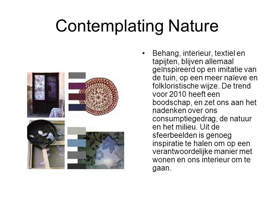 Contemplating Nature Behang, interieur, textiel en tapijten, blijven allemaal geïnspireerd op en imitatie van de tuin, op een meer naïeve en folkloris
