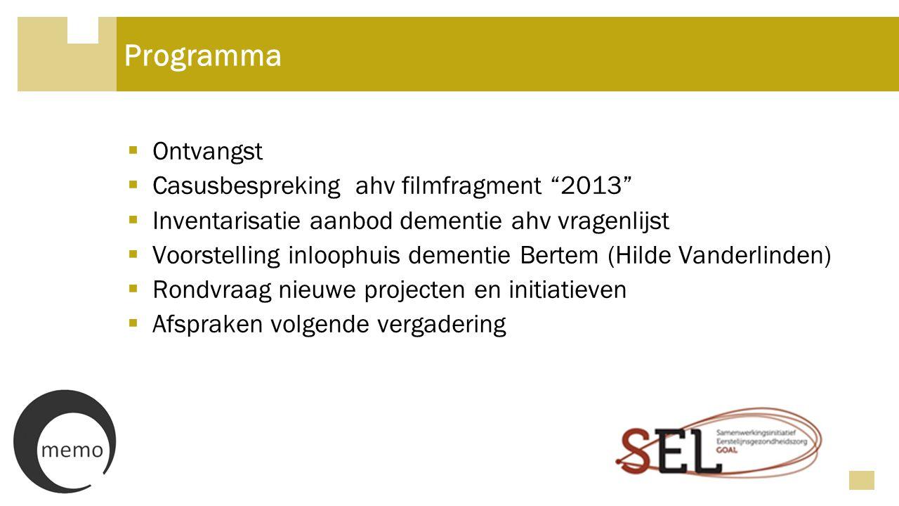 Casusbespreking en feedback  Beeldfragment uit TV-reeks '2013' René en Marieke  Bespreking: − Individueel 5 min − Per tafel 15 min − Plenair