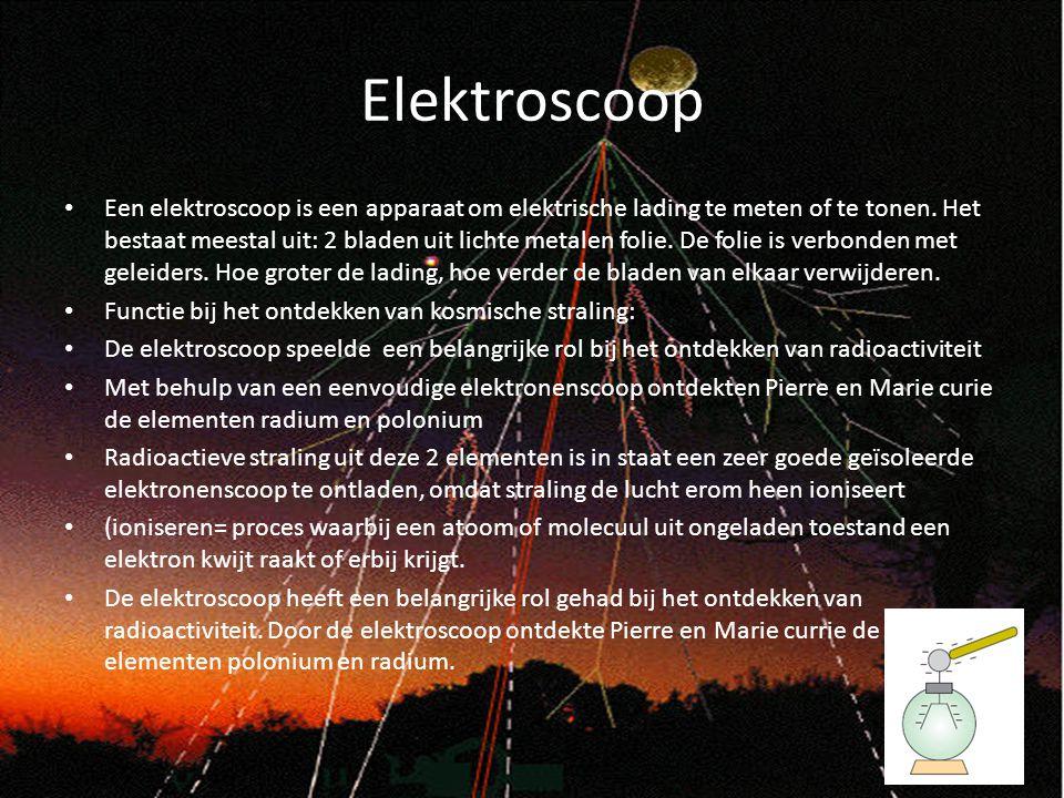 Elektroscoop Een elektroscoop is een apparaat om elektrische lading te meten of te tonen. Het bestaat meestal uit: 2 bladen uit lichte metalen folie.