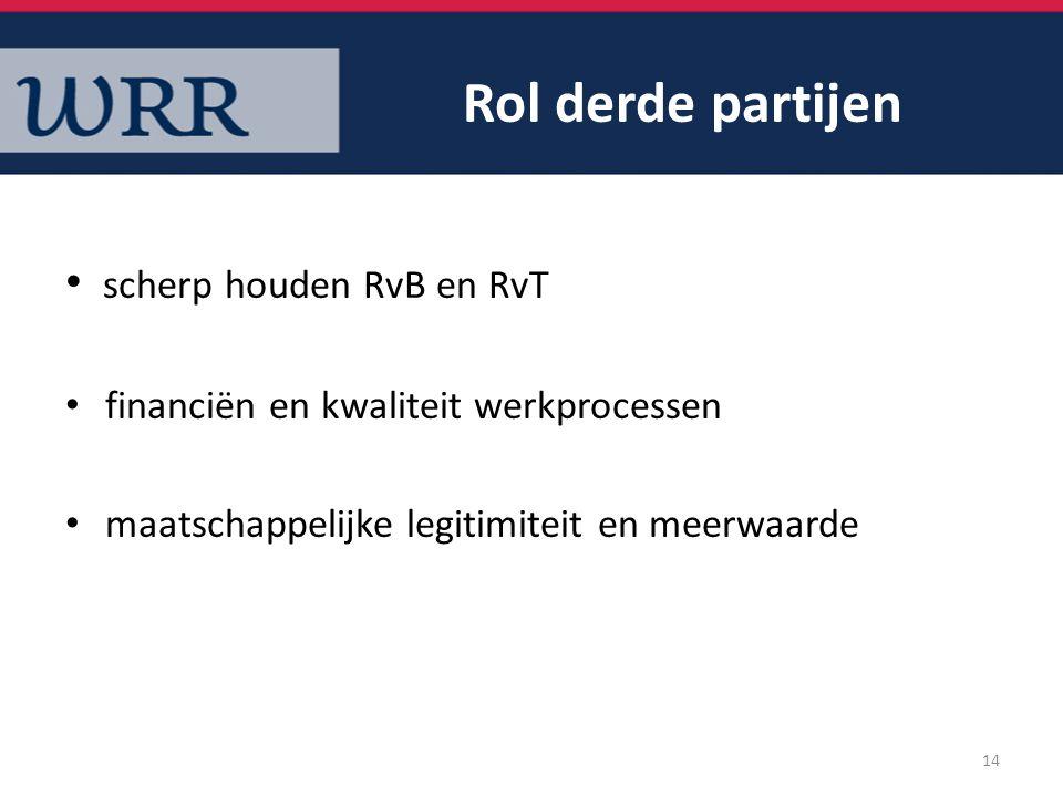 Rol derde partijen scherp houden RvB en RvT financiën en kwaliteit werkprocessen maatschappelijke legitimiteit en meerwaarde 14