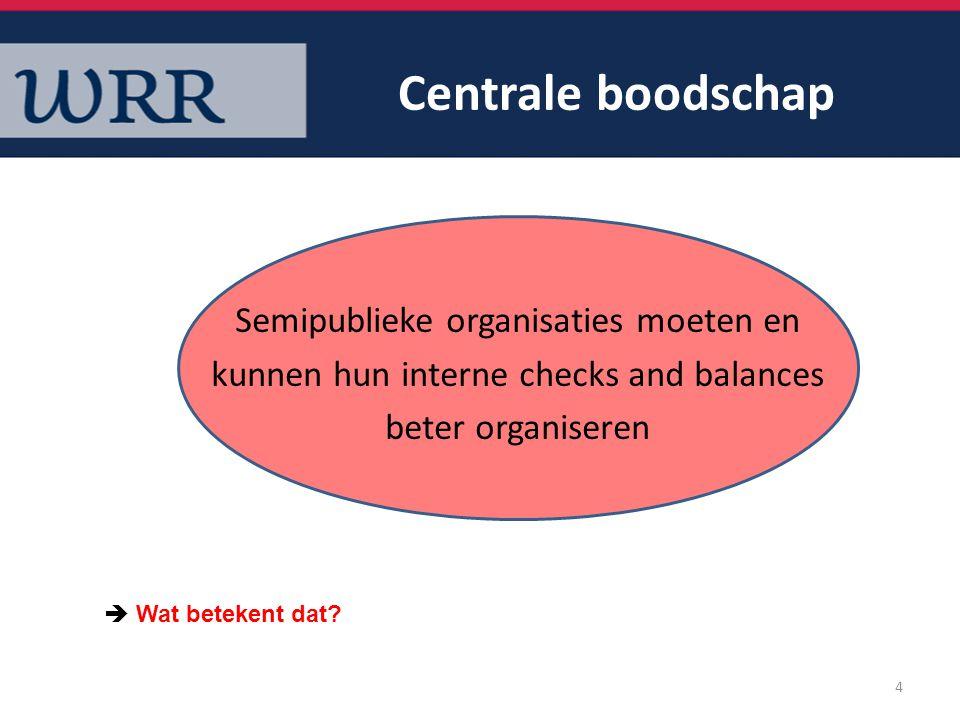 Centrale boodschap Semipublieke organisaties moeten en kunnen hun interne checks and balances beter organiseren 4  Wat betekent dat?