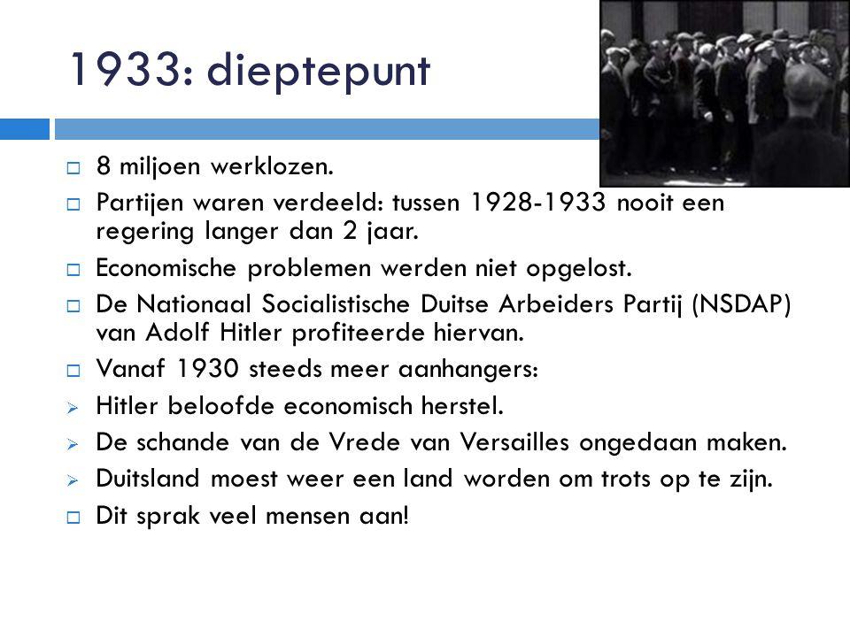 1933: dieptepunt  8 miljoen werklozen.  Partijen waren verdeeld: tussen 1928-1933 nooit een regering langer dan 2 jaar.  Economische problemen werd