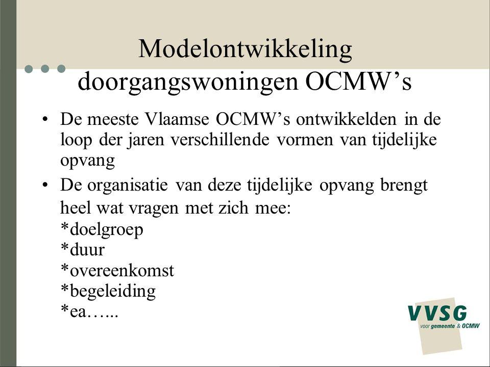 Modelontwikkeling doorgangswoningen OCMW's De meeste Vlaamse OCMW's ontwikkelden in de loop der jaren verschillende vormen van tijdelijke opvang De organisatie van deze tijdelijke opvang brengt heel wat vragen met zich mee: *doelgroep *duur *overeenkomst *begeleiding *ea…...