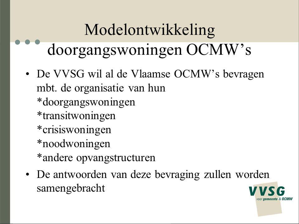 Modelontwikkeling doorgangswoningen OCMW's De VVSG wil al de Vlaamse OCMW's bevragen mbt.