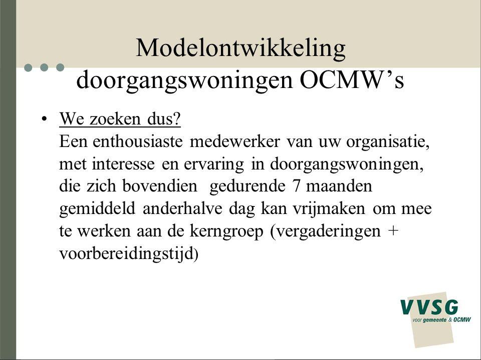 Modelontwikkeling doorgangswoningen OCMW's We zoeken dus.