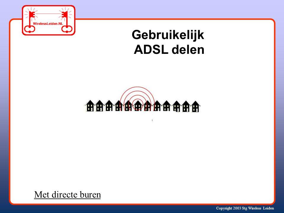 Copyright 2003 Stg Wireless Leiden Gebruikelijk ADSL delen Met directe buren