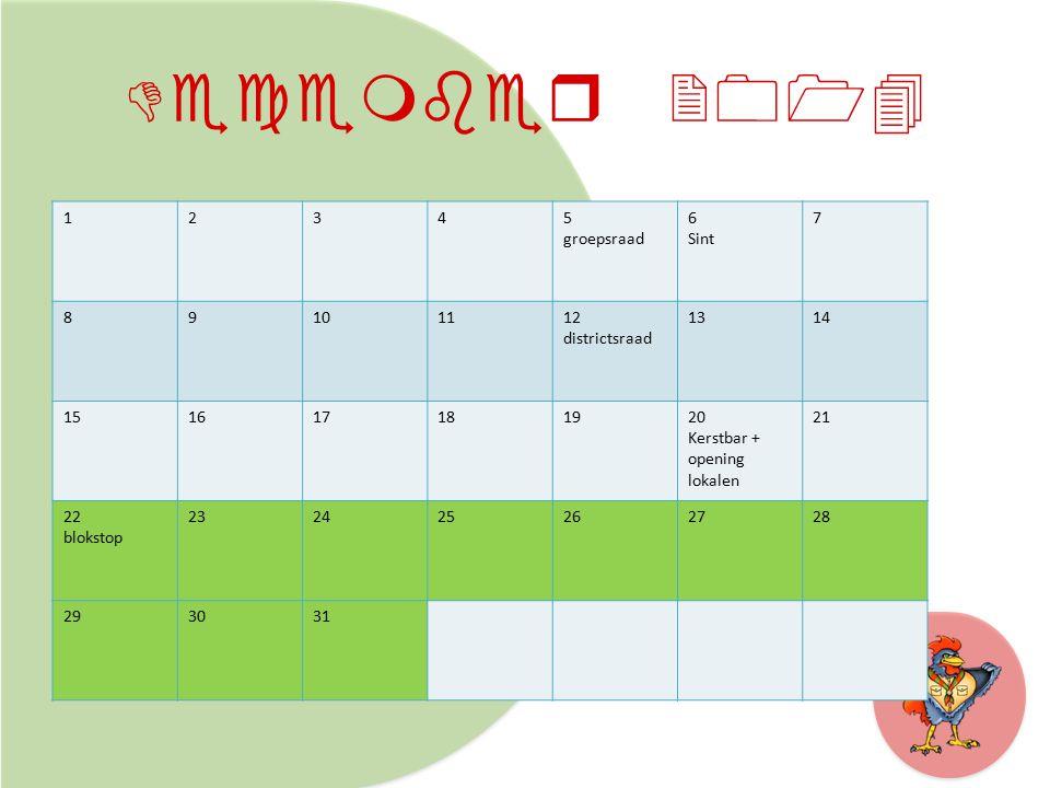 December 2014 12345 groepsraad 6 Sint 7 89101112 districtsraad 1314 151617181920 Kerstbar + opening lokalen 21 22 blokstop 232425262728 293031