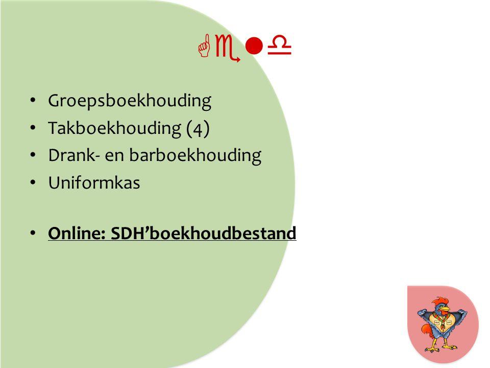 Geld Groepsboekhouding Takboekhouding (4) Drank- en barboekhouding Uniformkas Online: SDH'boekhoudbestand