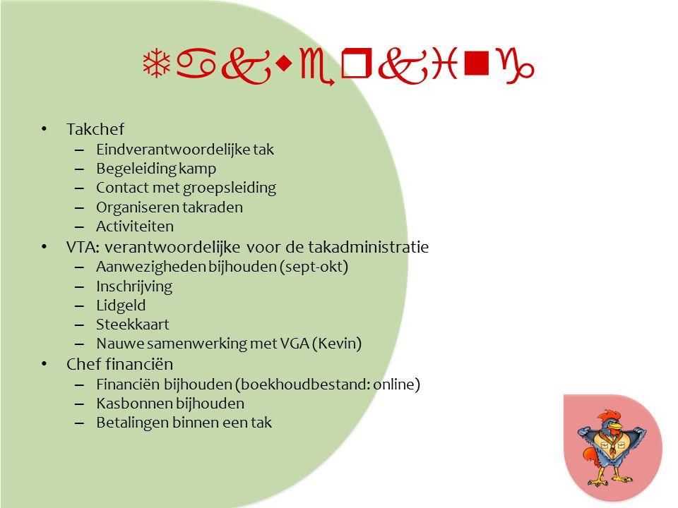 Takwerking Takchef – Eindverantwoordelijke tak – Begeleiding kamp – Contact met groepsleiding – Organiseren takraden – Activiteiten VTA: verantwoordelijke voor de takadministratie – Aanwezigheden bijhouden (sept-okt) – Inschrijving – Lidgeld – Steekkaart – Nauwe samenwerking met VGA (Kevin) Chef financiën – Financiën bijhouden (boekhoudbestand: online) – Kasbonnen bijhouden – Betalingen binnen een tak