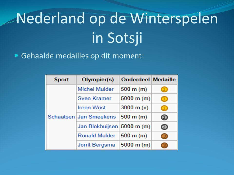 Nederland op de Winterspelen in Sotsji Gehaalde medailles op dit moment: