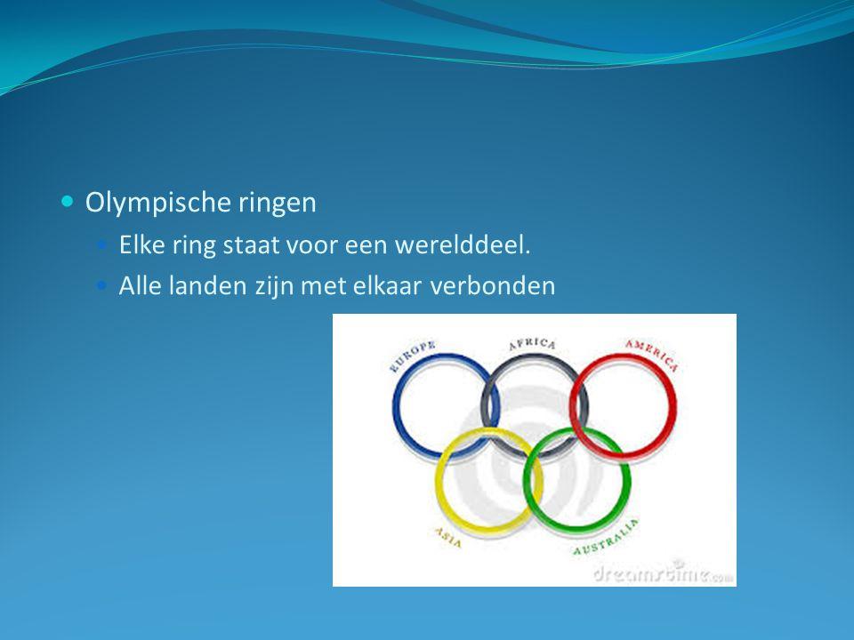 Olympische ringen Elke ring staat voor een werelddeel. Alle landen zijn met elkaar verbonden