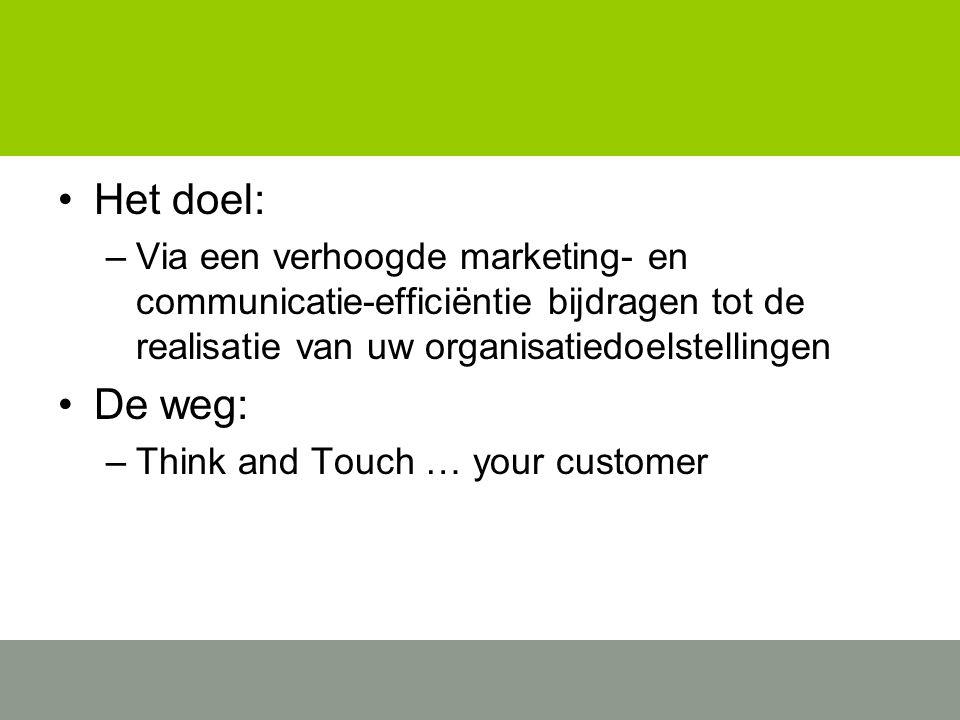 Het doel: –Via een verhoogde marketing- en communicatie-efficiëntie bijdragen tot de realisatie van uw organisatiedoelstellingen De weg: –Think and Touch … your customer