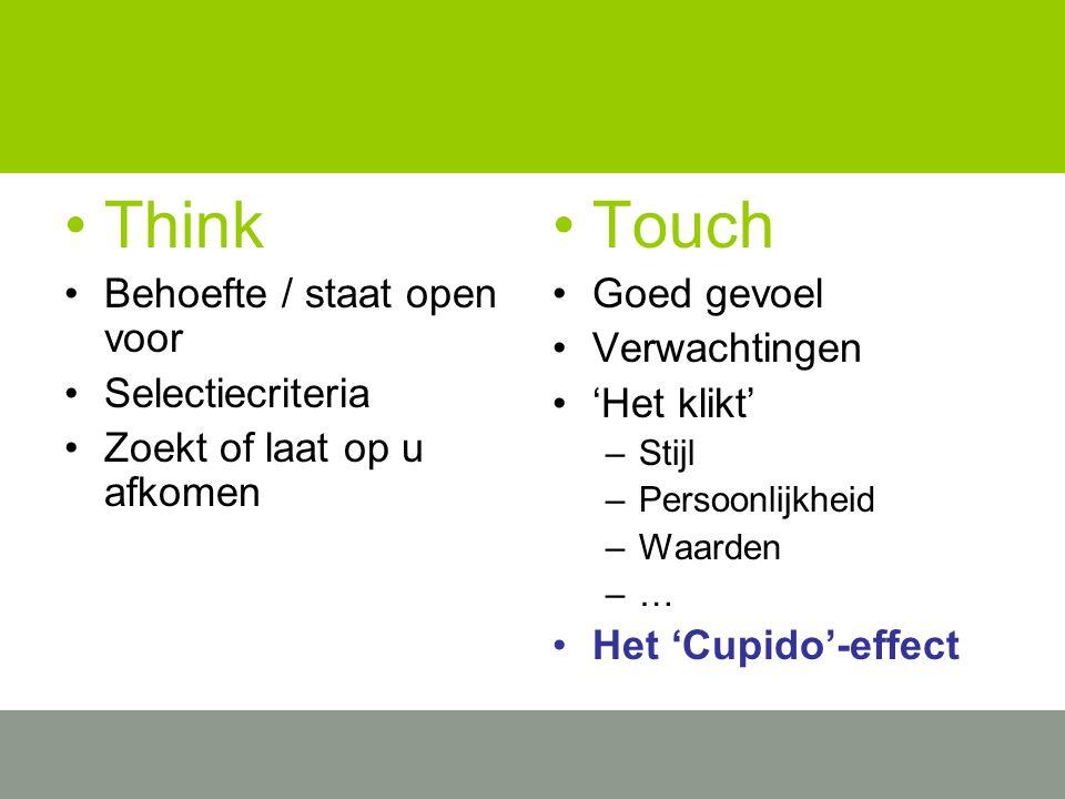 Think Behoefte / staat open voor Selectiecriteria Zoekt of laat op u afkomen Touch Goed gevoel Verwachtingen 'Het klikt' –Stijl –Persoonlijkheid –Waarden –… Het 'Cupido'-effect