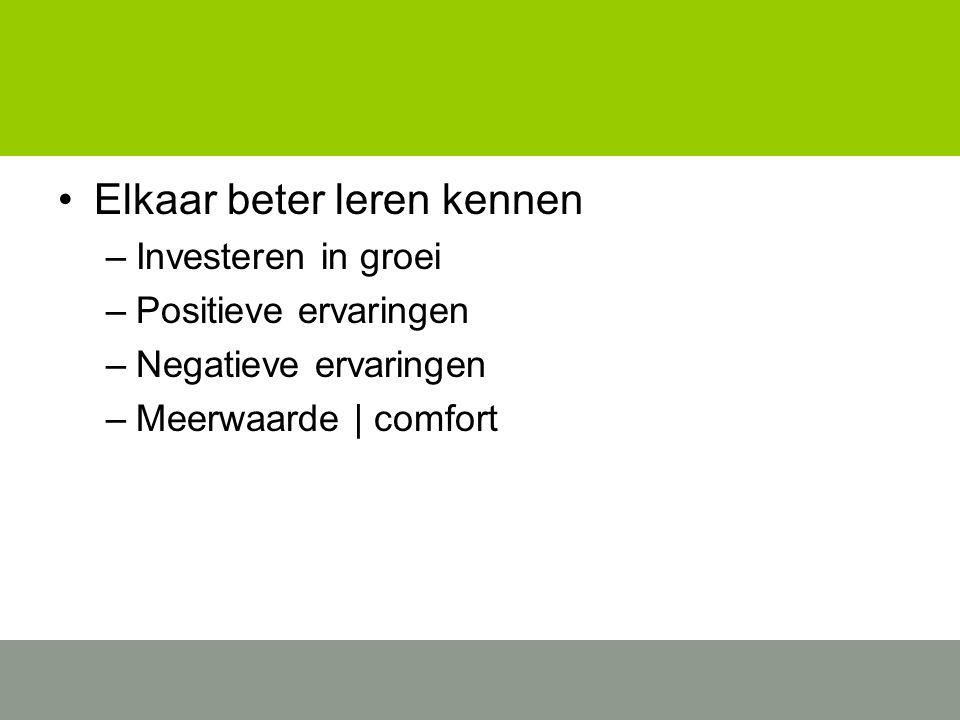 Elkaar beter leren kennen –Investeren in groei –Positieve ervaringen –Negatieve ervaringen –Meerwaarde | comfort