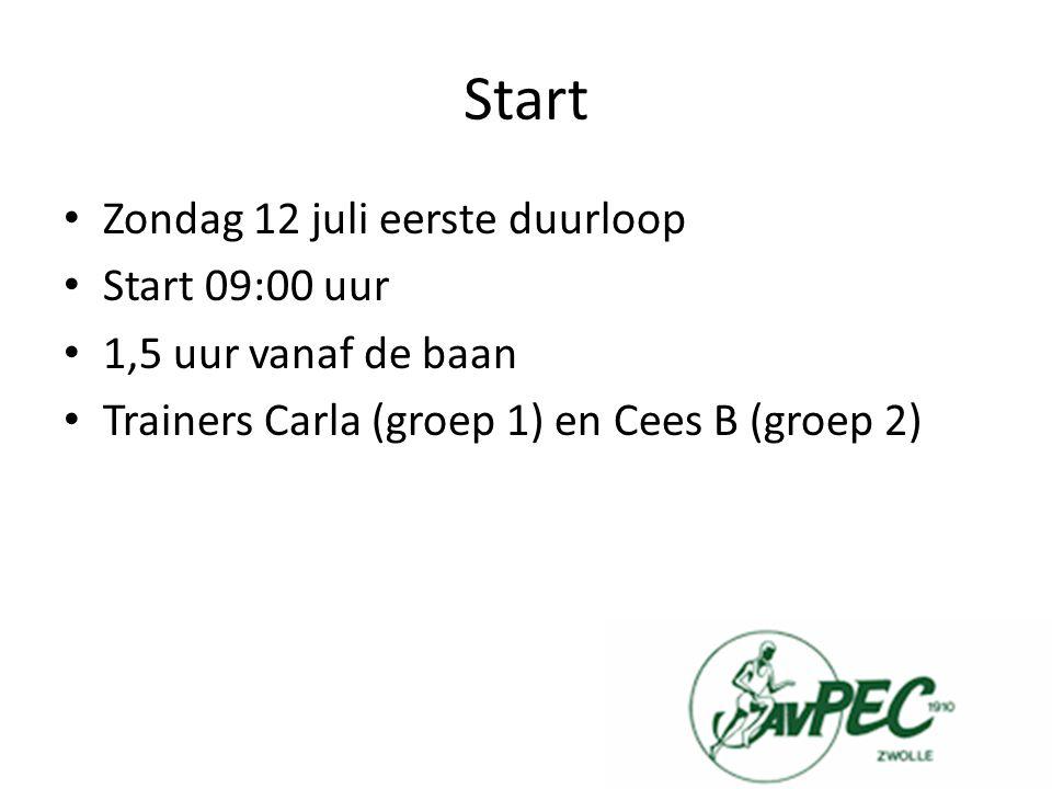 Start Zondag 12 juli eerste duurloop Start 09:00 uur 1,5 uur vanaf de baan Trainers Carla (groep 1) en Cees B (groep 2)