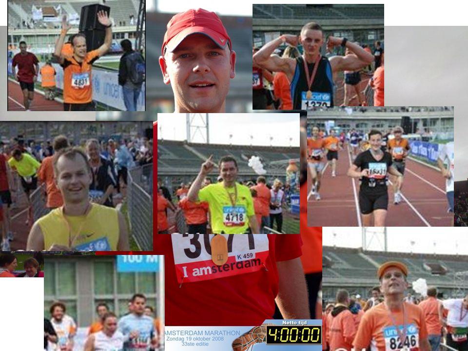 Marathon Amsterdam 18 oktober 2009 25.000 deelnemers >50 nationaliteiten Start& Finish in Olympisch Stadion Olympisch parcours uit 1928 En nog even 42,195 km