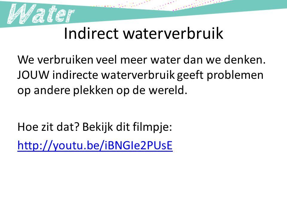 Indirect waterverbruik We verbruiken veel meer water dan we denken. JOUW indirecte waterverbruik geeft problemen op andere plekken op de wereld. Hoe z