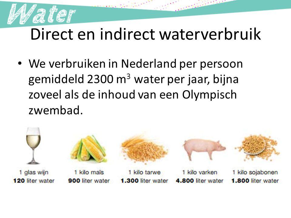 Direct en indirect waterverbruik We verbruiken in Nederland per persoon gemiddeld 2300 m 3 water per jaar, bijna zoveel als de inhoud van een Olympisch zwembad.