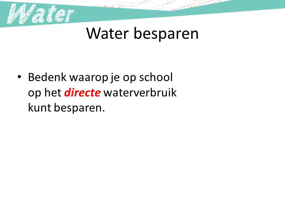 Water besparen Bedenk waarop je op school op het directe waterverbruik kunt besparen.