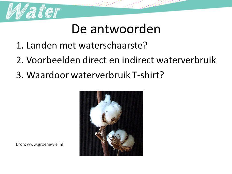 De antwoorden 1. Landen met waterschaarste? 2. Voorbeelden direct en indirect waterverbruik 3. Waardoor waterverbruik T-shirt? Bron: www.groenewiel.nl