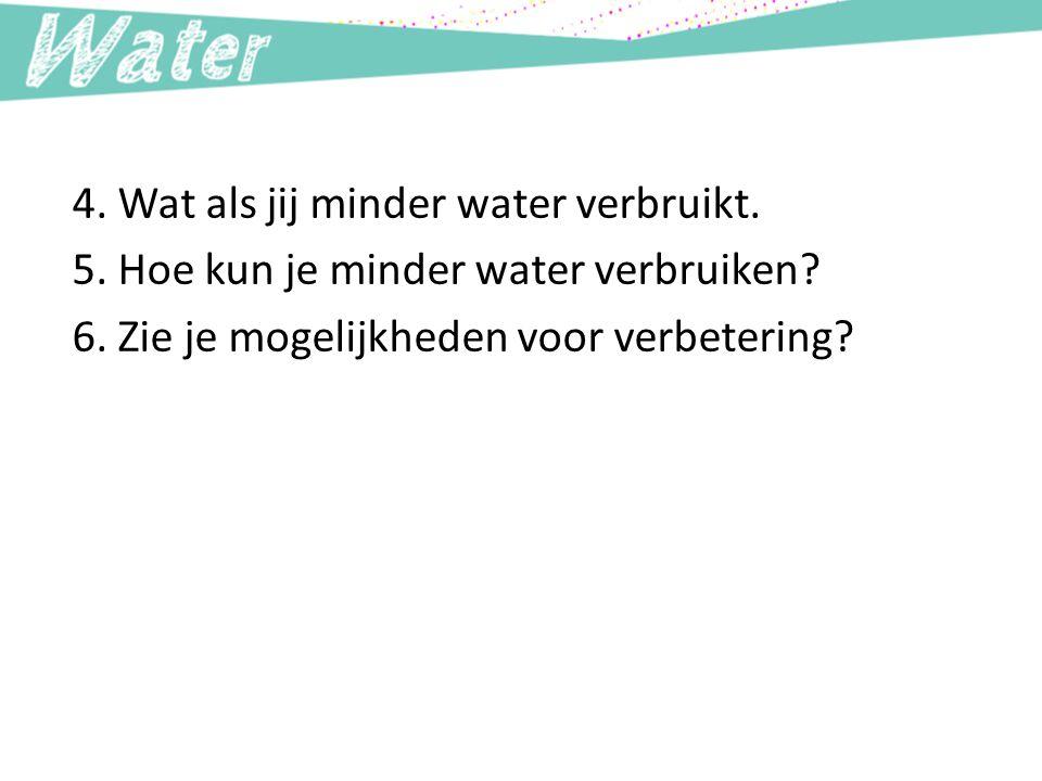4. Wat als jij minder water verbruikt. 5. Hoe kun je minder water verbruiken? 6. Zie je mogelijkheden voor verbetering?