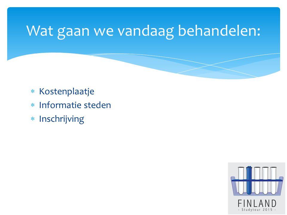  Kostenplaatje  Informatie steden  Inschrijving Wat gaan we vandaag behandelen:
