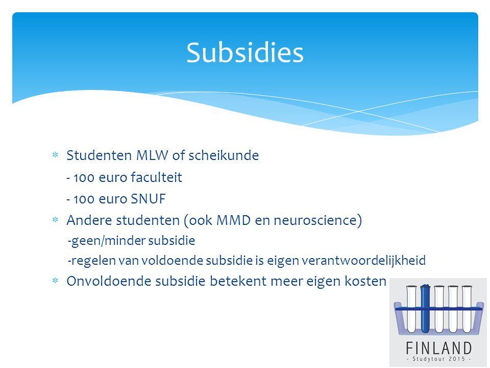  Studenten MLW of scheikunde - 100 euro faculteit - 100 euro SNUF  Andere studenten (ook MMD en neuroscience) -geen/minder subsidie -regelen van voldoende subsidie is eigen verantwoordelijkheid  Onvoldoende subsidie betekent meer eigen kosten Subsidies