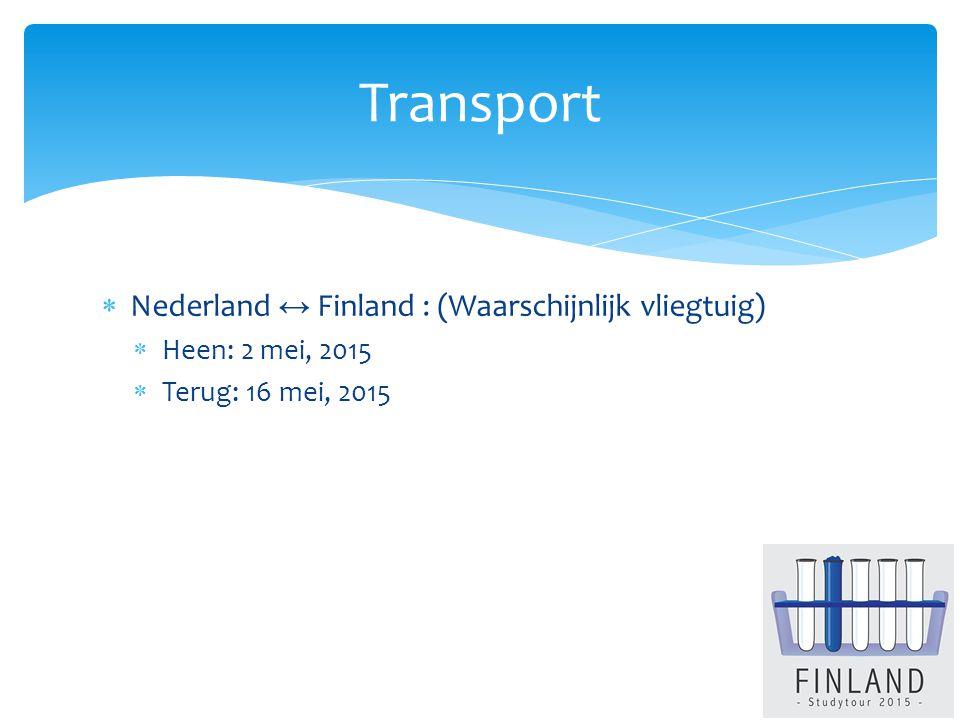  Nederland ↔ Finland : (Waarschijnlijk vliegtuig)  Heen: 2 mei, 2015  Terug: 16 mei, 2015 Transport