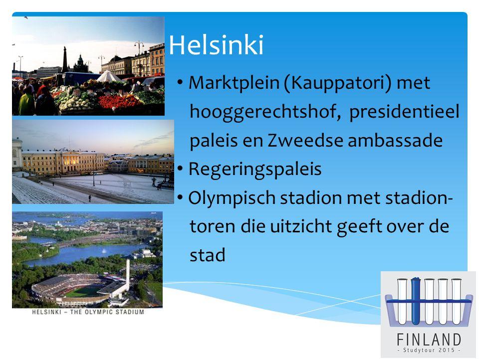 Helsinki Marktplein (Kauppatori) met hooggerechtshof, presidentieel paleis en Zweedse ambassade Regeringspaleis Olympisch stadion met stadion- toren die uitzicht geeft over de stad