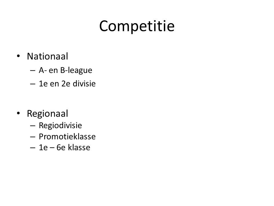 Competitie Nationaal – A- en B-league – 1e en 2e divisie Regionaal – Regiodivisie – Promotieklasse – 1e – 6e klasse