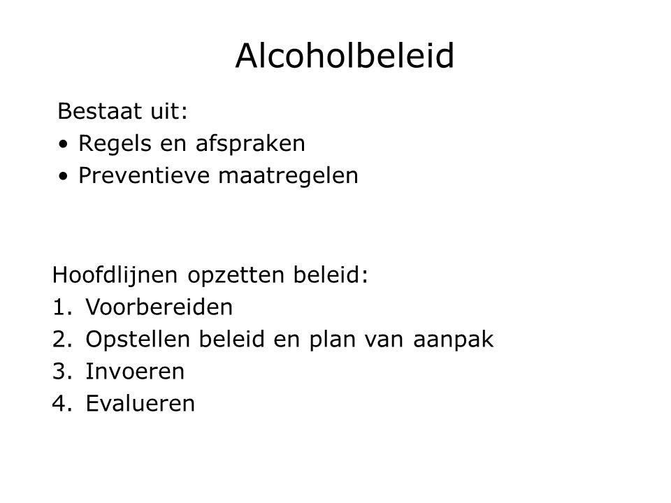 Alcoholbeleid Bestaat uit: Regels en afspraken Preventieve maatregelen Hoofdlijnen opzetten beleid: 1.