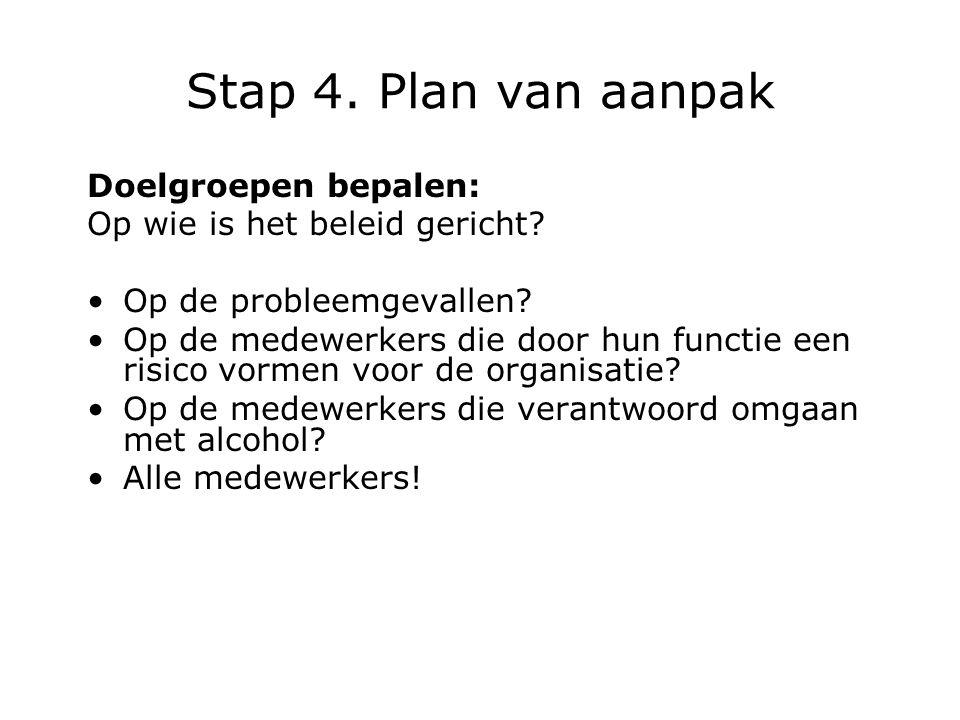 Stap 4.Plan van aanpak Doelgroepen bepalen: Op wie is het beleid gericht.